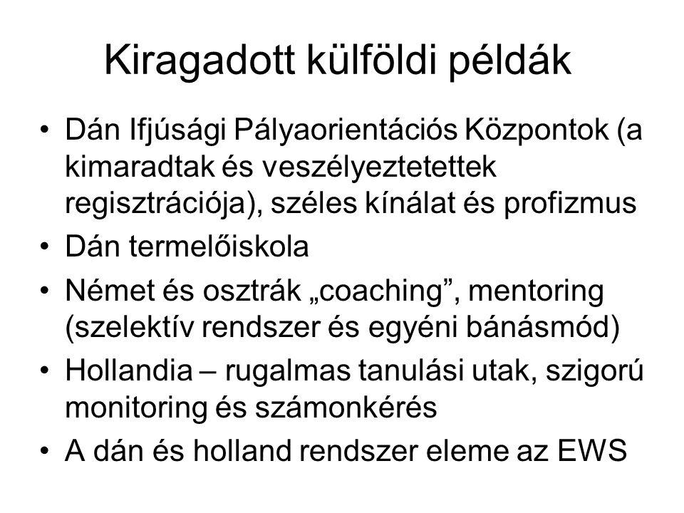 """Kiragadott külföldi példák Dán Ifjúsági Pályaorientációs Központok (a kimaradtak és veszélyeztetettek regisztrációja), széles kínálat és profizmus Dán termelőiskola Német és osztrák """"coaching , mentoring (szelektív rendszer és egyéni bánásmód) Hollandia – rugalmas tanulási utak, szigorú monitoring és számonkérés A dán és holland rendszer eleme az EWS"""
