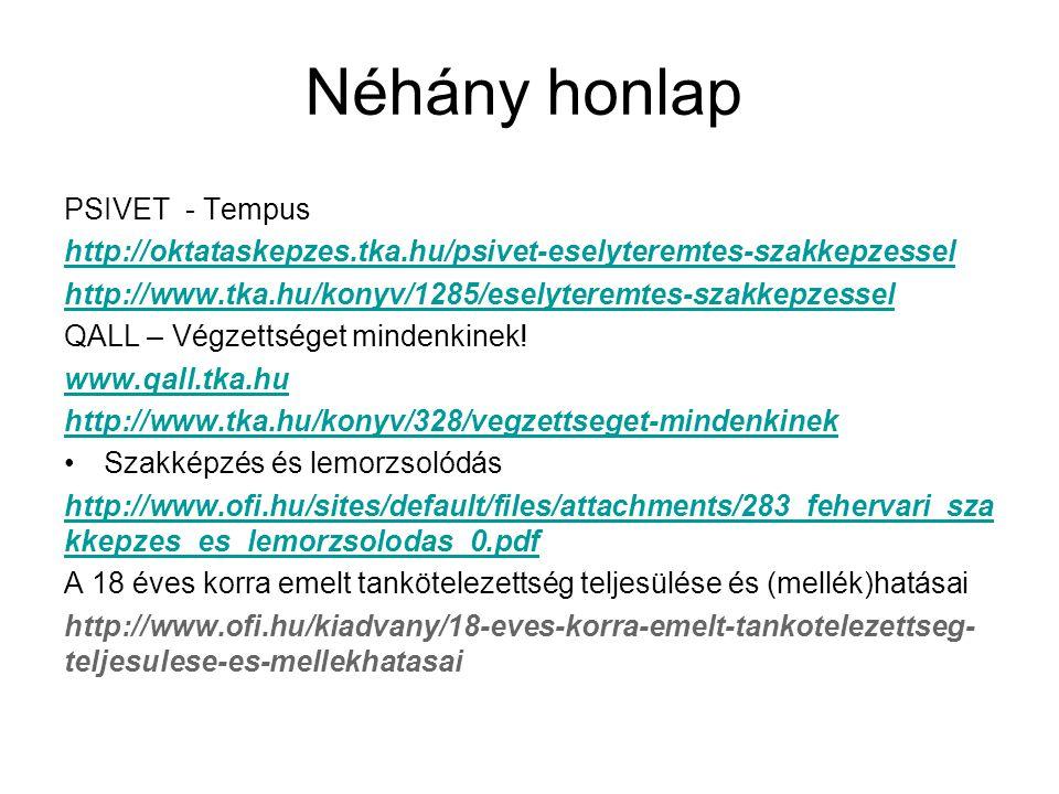 Néhány honlap PSIVET - Tempus http://oktataskepzes.tka.hu/psivet-eselyteremtes-szakkepzessel http://www.tka.hu/konyv/1285/eselyteremtes-szakkepzessel