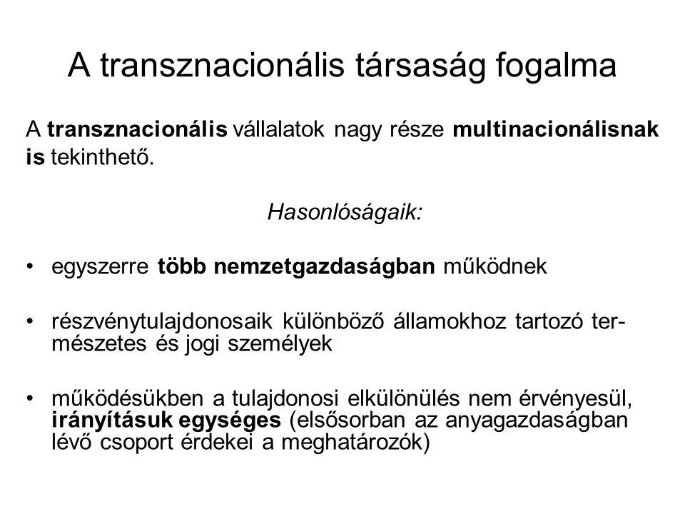 A transznacionális társaság fogalma A transznacionális vállalatok nagy része multinacionálisnak is tekinthető. Hasonlóságaik: egyszerre több nemzetgaz