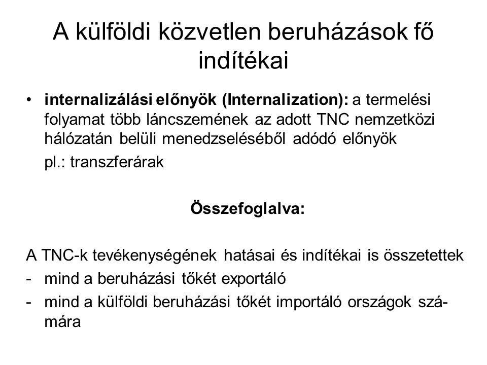 A külföldi közvetlen beruházások fő indítékai internalizálási előnyök (Internalization): a termelési folyamat több láncszemének az adott TNC nemzetközi hálózatán belüli menedzseléséből adódó előnyök pl.: transzferárak Összefoglalva: A TNC-k tevékenységének hatásai és indítékai is összetettek -mind a beruházási tőkét exportáló -mind a külföldi beruházási tőkét importáló országok szá- mára