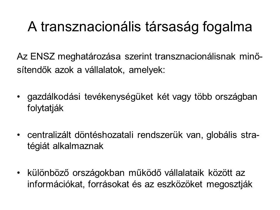A transznacionális társaság fogalma Az ENSZ meghatározása szerint transznacionálisnak minő- sítendők azok a vállalatok, amelyek: gazdálkodási tevékeny
