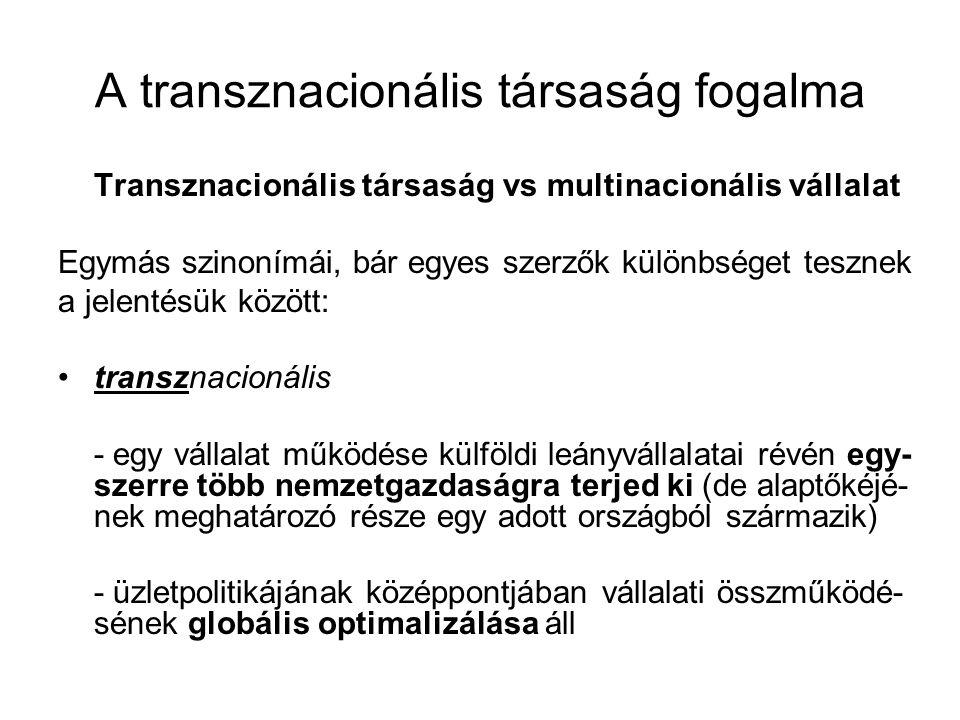 A transznacionális társaság fogalma Transznacionális társaság vs multinacionális vállalat Egymás szinonímái, bár egyes szerzők különbséget tesznek a j
