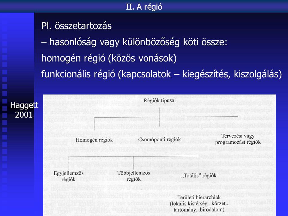 Haggett 2001 II. A régió Pl. összetartozás – hasonlóság vagy különbözőség köti össze: homogén régió (közös vonások) funkcionális régió (kapcsolatok –