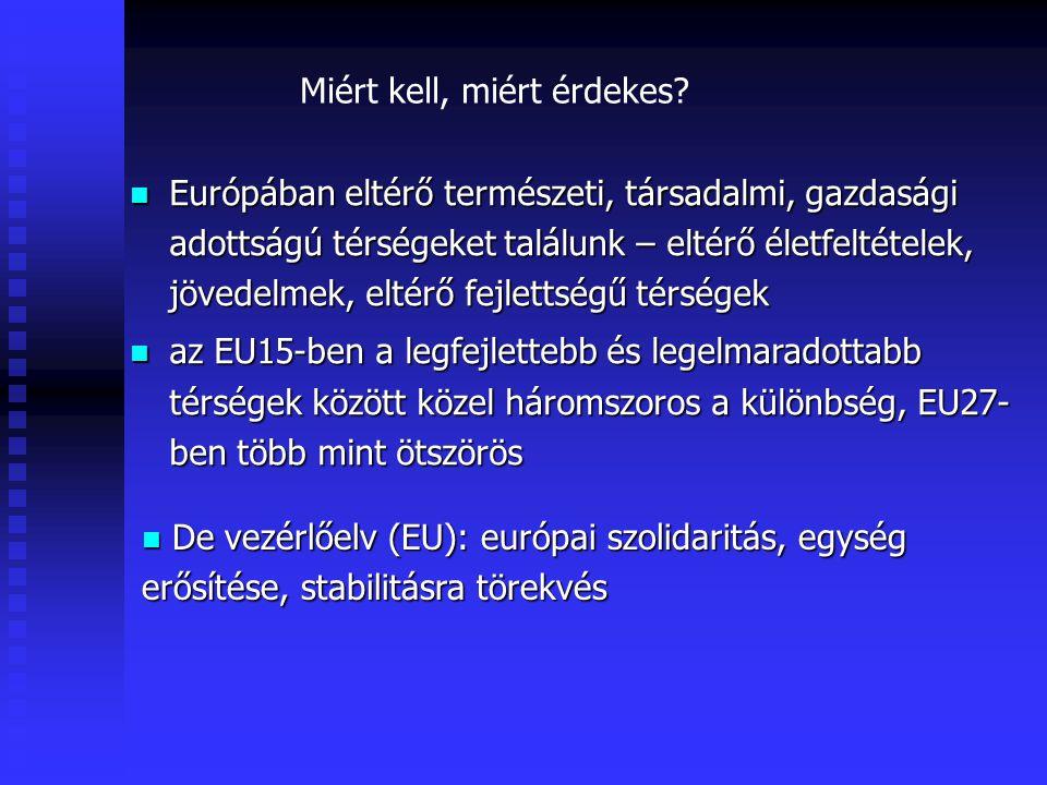 http://europa.eu.int Európai Unióban egyik kiemelt feladat: a térségek közötti társadalmi-gazdasági különbségek mérséklése - KOHÉZIÓ, KONVERGENCIA Ennek eszköze a regionális politika