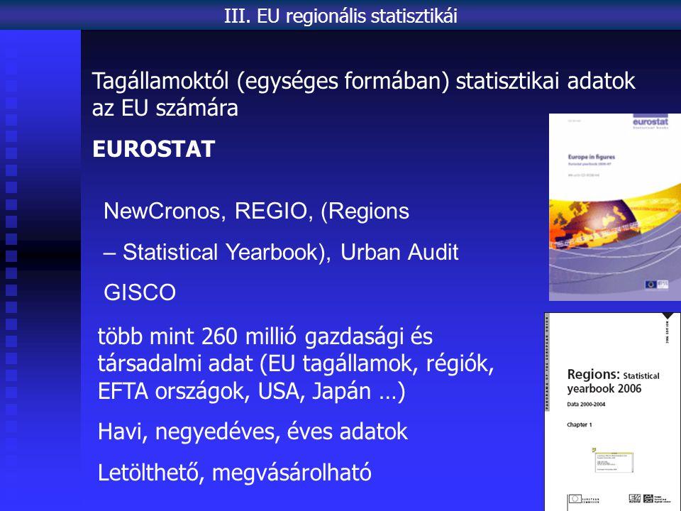 NewCronos, REGIO, (Regions – Statistical Yearbook), Urban Audit GISCO III. EU regionális statisztikái több mint 260 millió gazdasági és társadalmi ada
