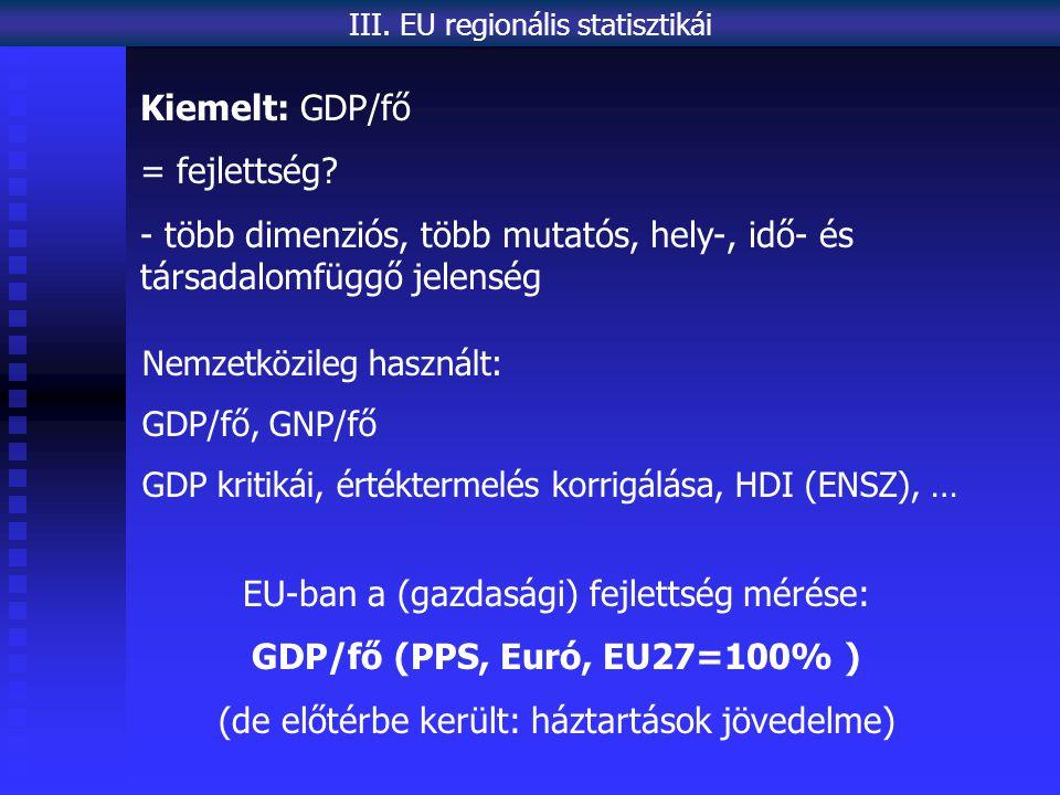 Kiemelt: GDP/fő = fejlettség.