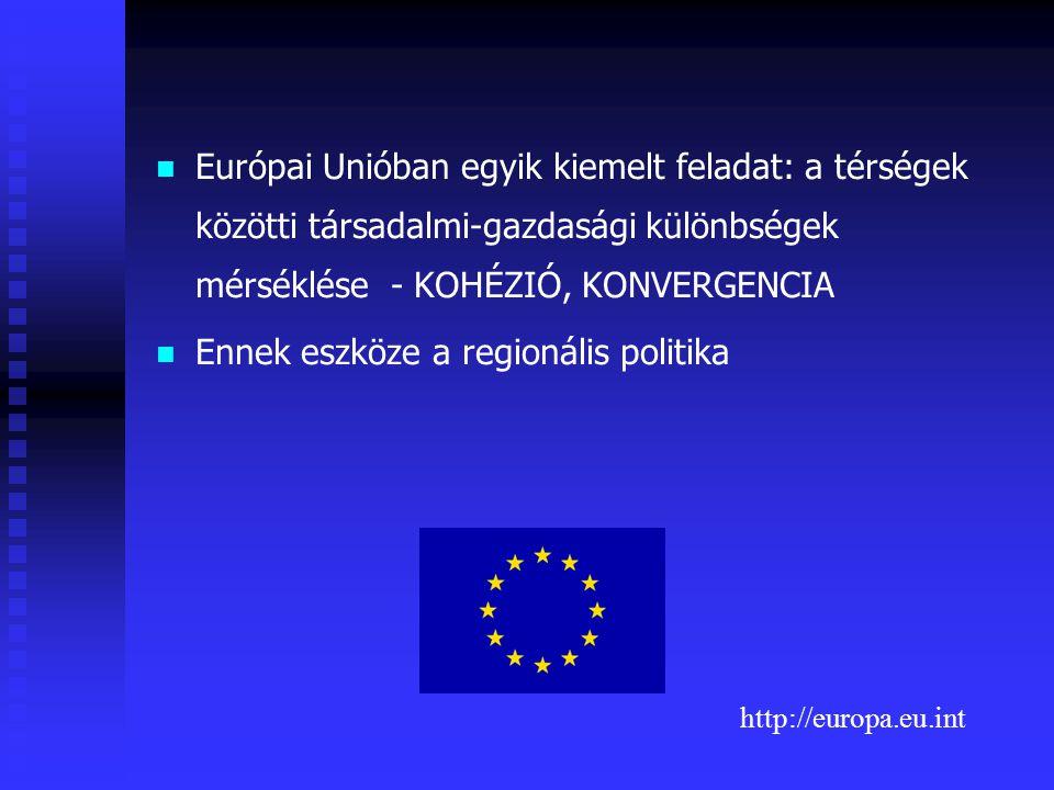 A regionális politika kialakulása: 1957 Római szerződés - biztosítani kell az integrációban a harmonikus fejlődést a különböző régiók között fennálló különbségek és az elmaradott régiók hátrányának csökkentésével V.