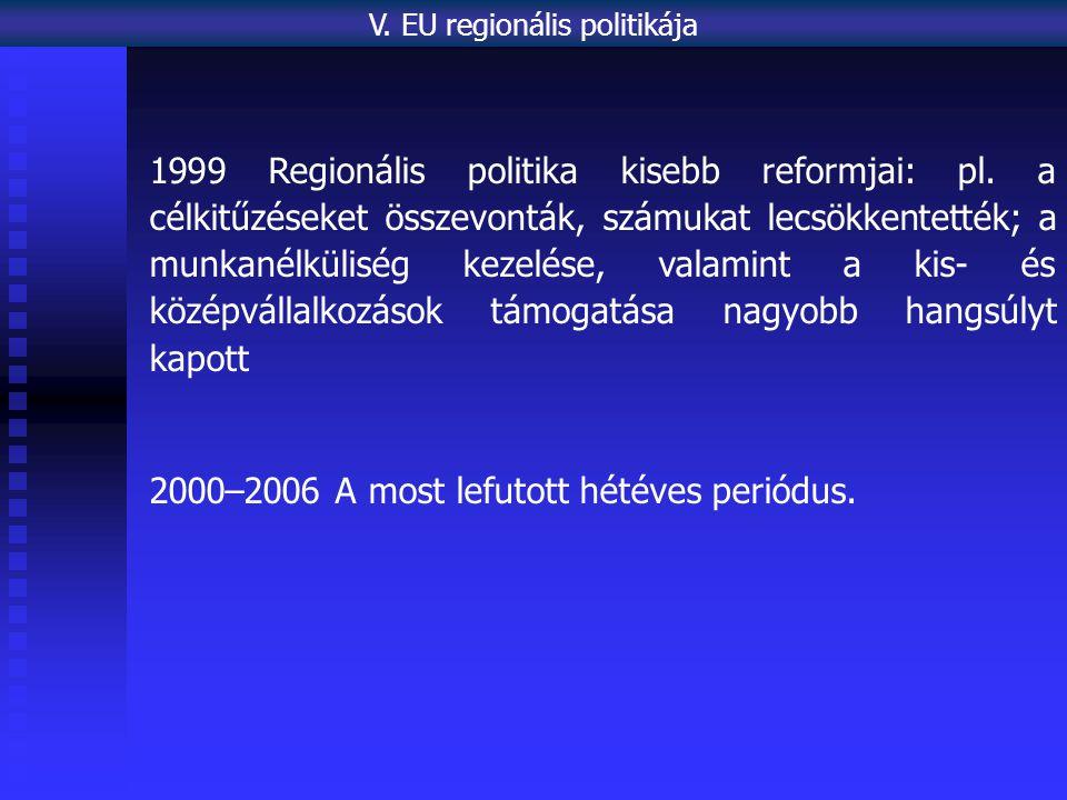 1999 Regionális politika kisebb reformjai: pl. a célkitűzéseket összevonták, számukat lecsökkentették; a munkanélküliség kezelése, valamint a kis- és