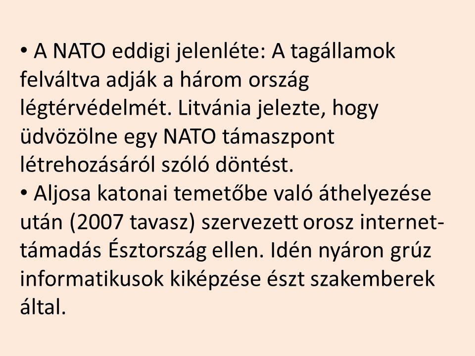 A NATO eddigi jelenléte: A tagállamok felváltva adják a három ország légtérvédelmét. Litvánia jelezte, hogy üdvözölne egy NATO támaszpont létrehozásár