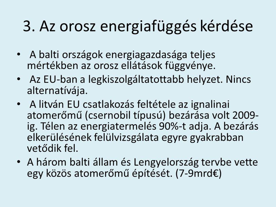3. Az orosz energiafüggés kérdése A balti országok energiagazdasága teljes mértékben az orosz ellátások függvénye. Az EU-ban a legkiszolgáltatottabb h