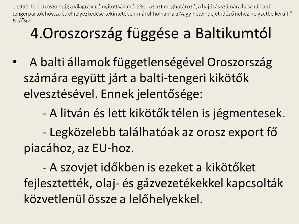 4.Oroszország függése a Baltikumtól A balti államok függetlenségével Oroszország számára együtt járt a balti-tengeri kikötők elvesztésével. Ennek jele