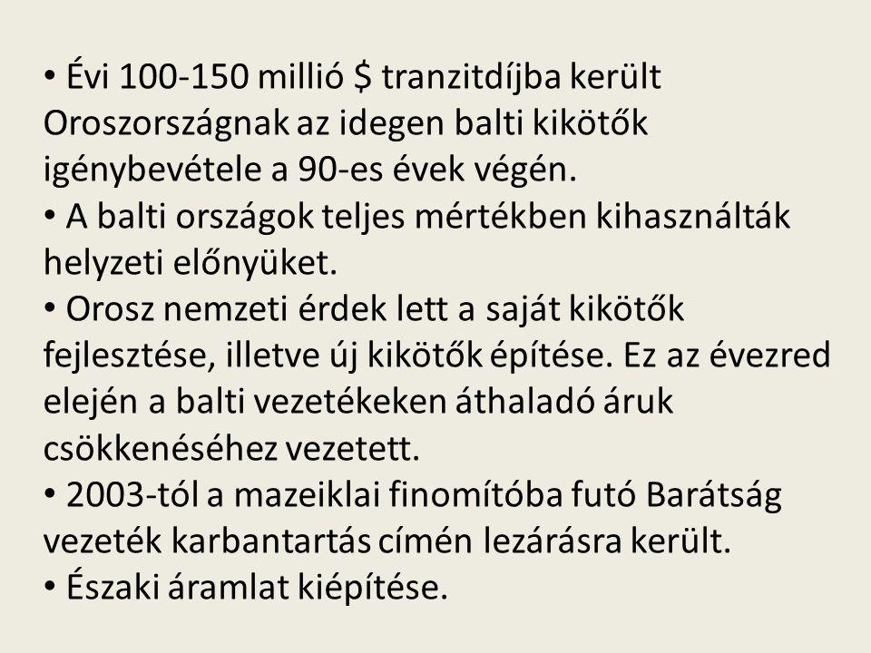 Évi 100-150 millió $ tranzitdíjba került Oroszországnak az idegen balti kikötők igénybevétele a 90-es évek végén. A balti országok teljes mértékben ki