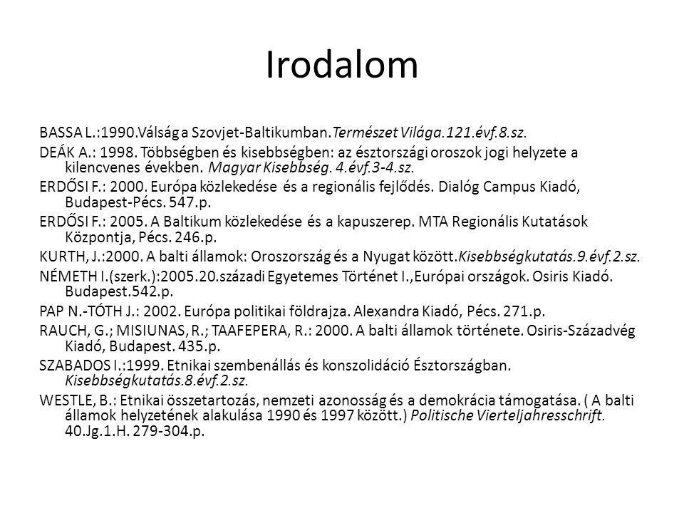Irodalom BASSA L.:1990.Válság a Szovjet-Baltikumban.Természet Világa.121.évf.8.sz. DEÁK A.: 1998. Többségben és kisebbségben: az észtországi oroszok j