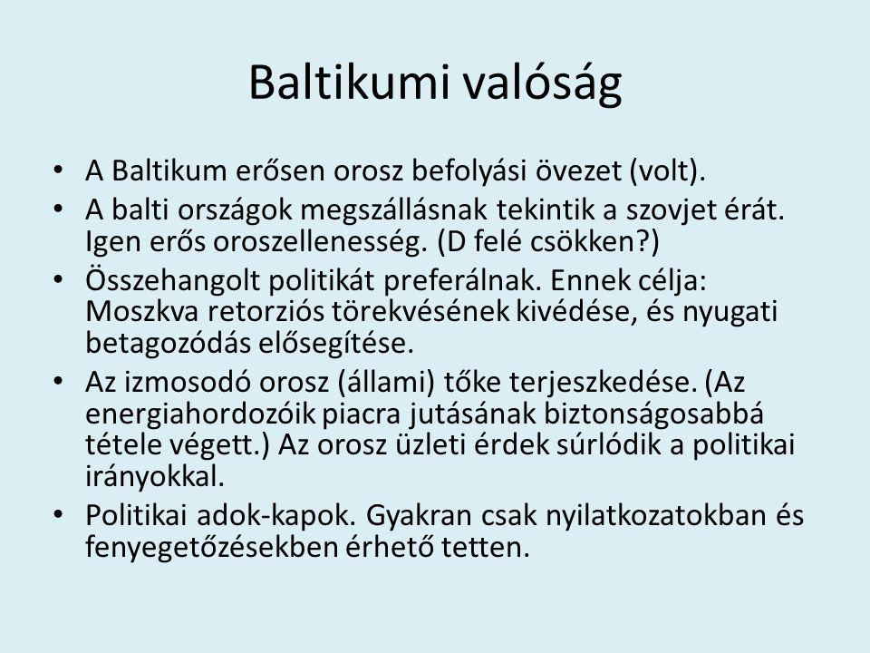 Baltikumi valóság A Baltikum erősen orosz befolyási övezet (volt). A balti országok megszállásnak tekintik a szovjet érát. Igen erős oroszellenesség.