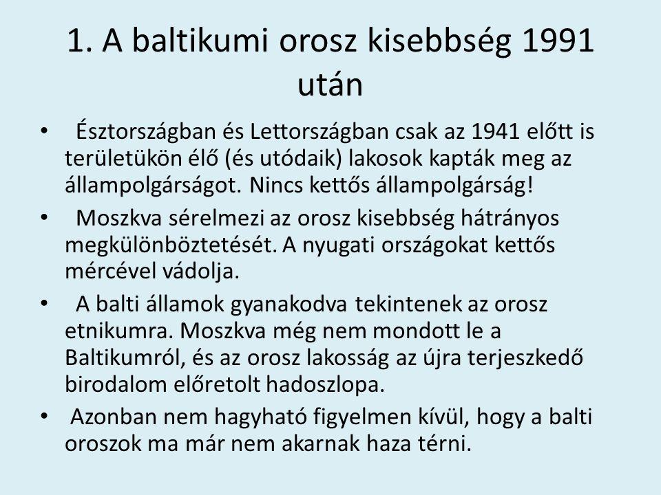 1. A baltikumi orosz kisebbség 1991 után Észtországban és Lettországban csak az 1941 előtt is területükön élő (és utódaik) lakosok kapták meg az állam