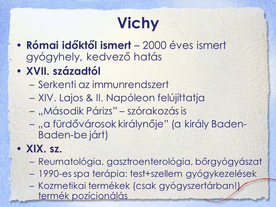 Vichy Római időktől ismert – 2000 éves ismert gyógyhely, kedvező hatás XVII. századtól –Serkenti az immunrendszert –XIV. Lajos & II. Napóleon felújítt