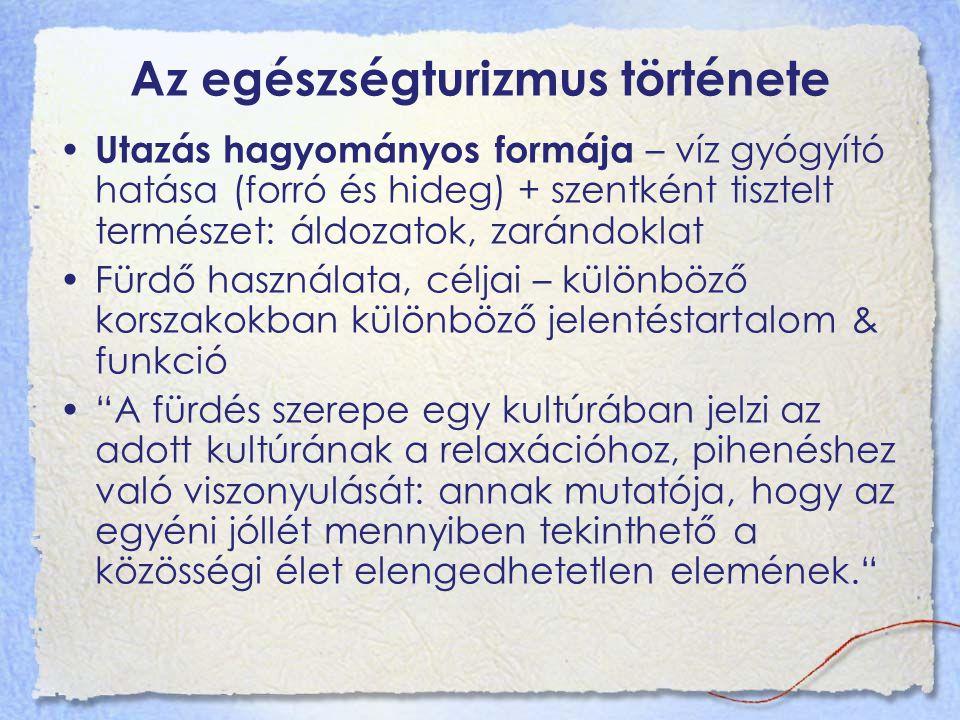 """Az egészségturizmus története Egyéni és társas fürdőzés Egyéni – tisztálkodás, privátszféra része Társas fürdőzés – lazító, gyógyító tevékenység, kultúra része Vizek gyógyító funkciója: fürdés és ivókúra Spa Belga város – fürdőiről és forrásairól ismert, népszerű üdülőhely a római korszak óta s olus p er a qua / s anus p er a quam – """"egészség víz által e spa = forrás (vallon)"""