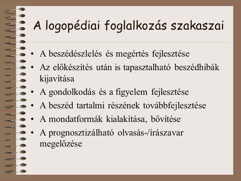 A logopédiai foglalkozás szakaszai A beszédészlelés és megértés fejlesztése Az előkészítés után is tapasztalható beszédhibák kijavítása A gondolkodás