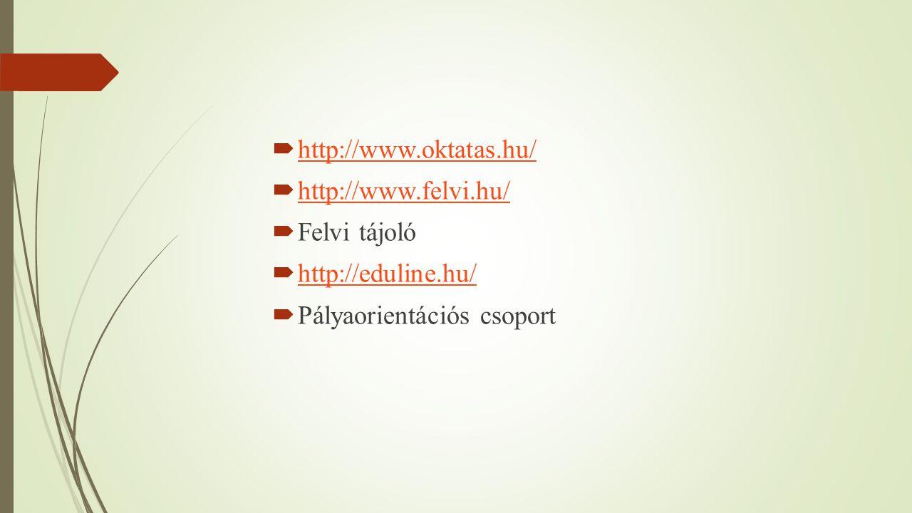  http://www.oktatas.hu/ http://www.oktatas.hu/  http://www.felvi.hu/ http://www.felvi.hu/  Felvi tájoló  http://eduline.hu/ http://eduline.hu/  P