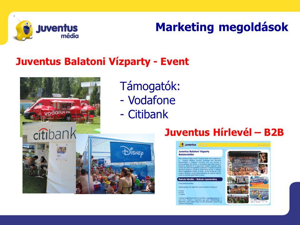 Marketing megoldások Juventus Balatoni Vízparty - Event Támogatók: - Vodafone - Citibank Juventus Hírlevél – B2B
