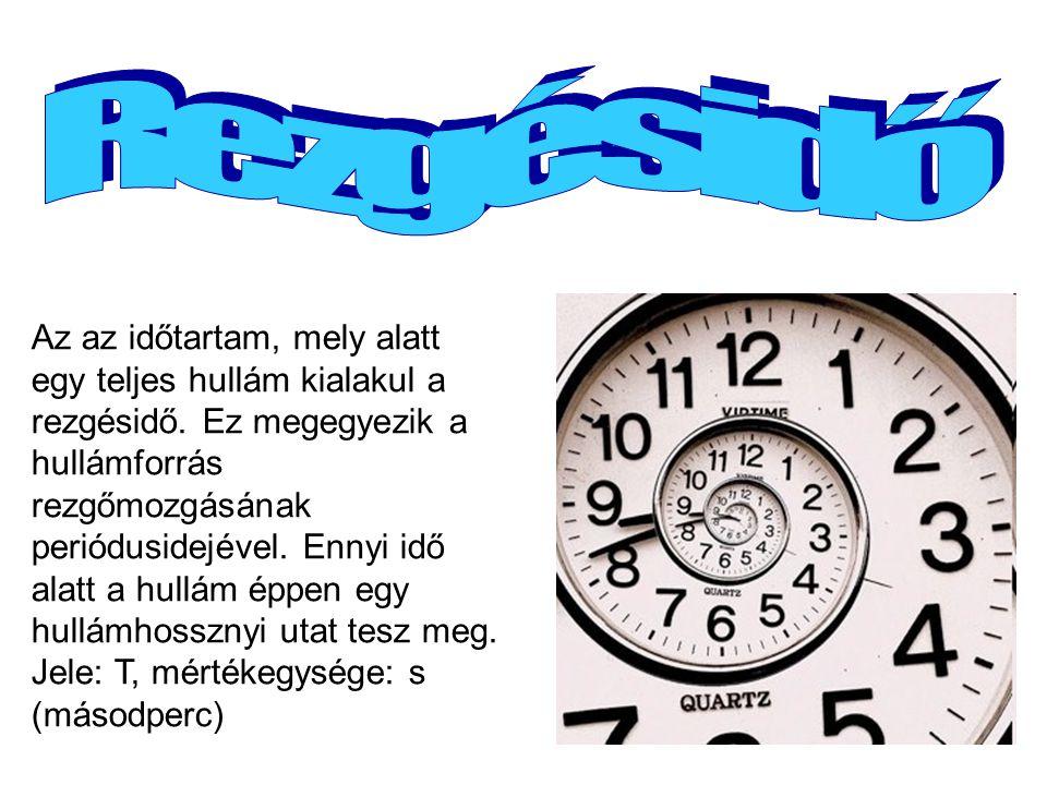 Az az időtartam, mely alatt egy teljes hullám kialakul a rezgésidő. Ez megegyezik a hullámforrás rezgőmozgásának periódusidejével. Ennyi idő alatt a h