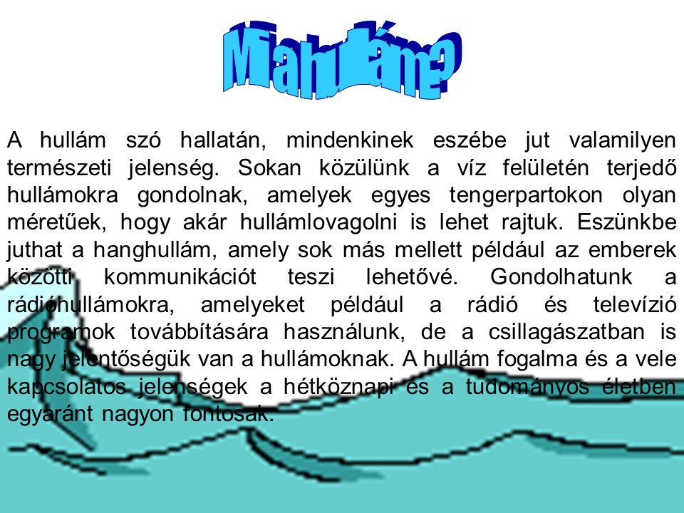 A hullám szó hallatán, mindenkinek eszébe jut valamilyen természeti jelenség. Sokan közülünk a víz felületén terjedő hullámokra gondolnak, amelyek egy