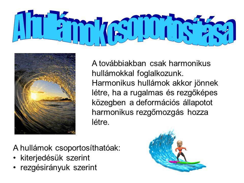 A továbbiakban csak harmonikus hullámokkal foglalkozunk. Harmonikus hullámok akkor jönnek létre, ha a rugalmas és rezgőképes közegben a deformációs ál