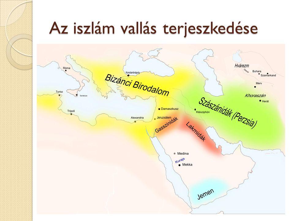 Történelmi konfliktusok Mohamed halála után (632) nem sokkal már nagy területekre tettek szert a vallás követői: o Omar 636-ban meghódította Perzsiát, 638-ban Szíriát, 642-ben Egyiptomot o Omajjádok 698 elfoglalták Karthágót, majd egész Észak-Afrikát o Pireneusi-félszigeten is megvetik a lábukat Muszlim hódítások 750-ig