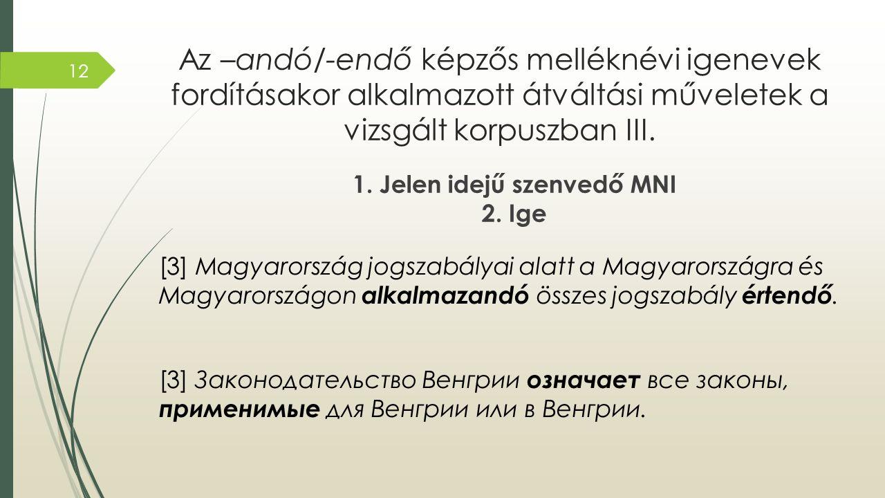 Az –andó/-endő képzős melléknévi igenevek fordításakor alkalmazott átváltási műveletek a vizsgált korpuszban III. 1. Jelen idejű szenvedő MNI 2. Ige [