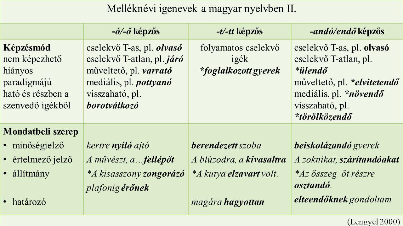 Az –andó/-endő képzős melléknévi igenevek fordításakor alkalmazott átváltási műveletek a vizsgált korpuszban VI.
