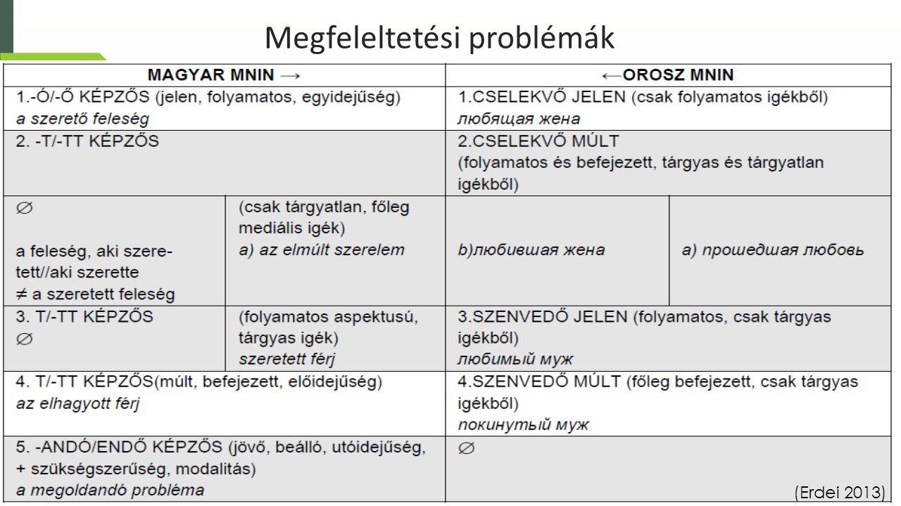 Megfeleltetési problémák (Erdei 2013)