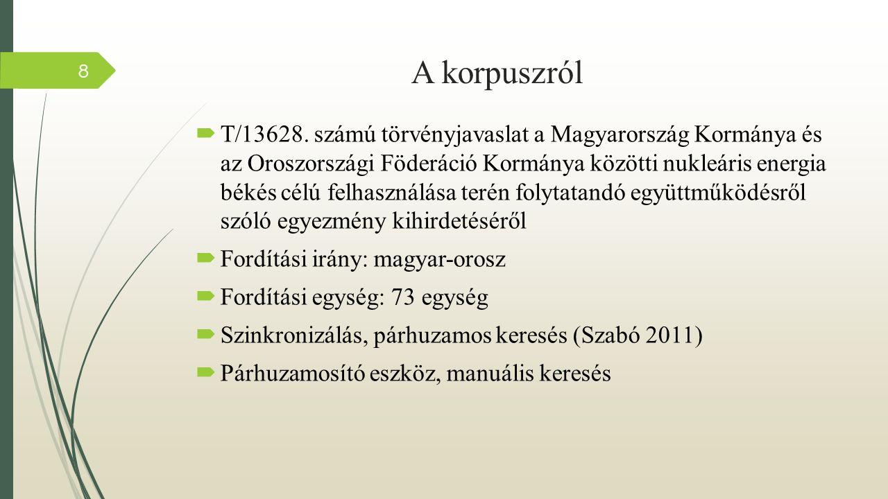 Az orosz melléknévi igenevek típusainak előfordulási aránya а vizsgált korpuszban 9