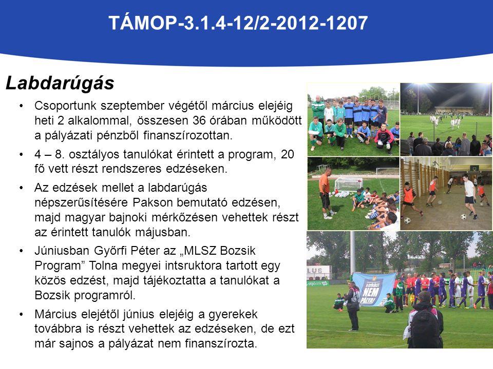 Labdarúgás Csoportunk szeptember végétől március elejéig heti 2 alkalommal, összesen 36 órában működött a pályázati pénzből finanszírozottan.
