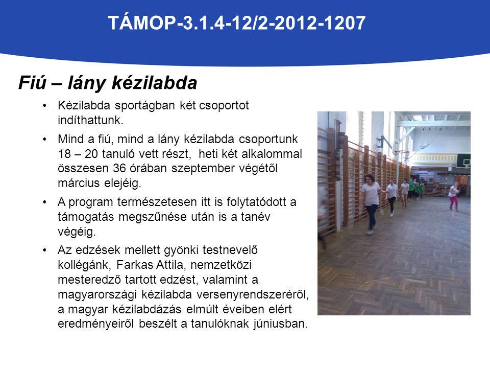 TÁMOP-3.1.4-12/2-2012-1207 Fiú – lány kézilabda Kézilabda sportágban két csoportot indíthattunk.