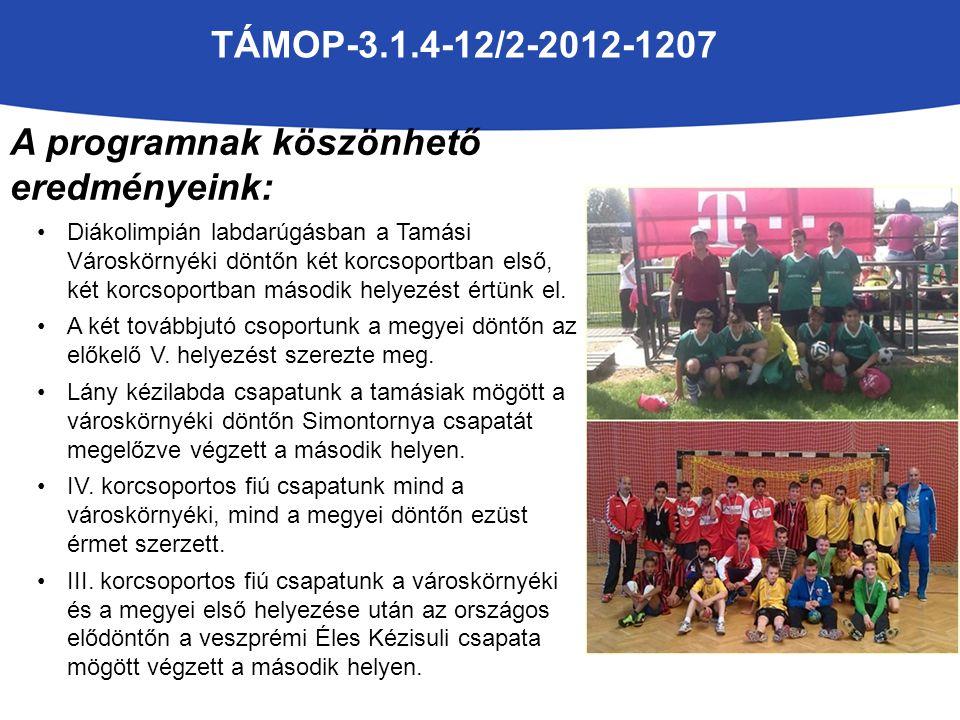 TÁMOP-3.1.4-12/2-2012-1207 A programnak köszönhető eredményeink: A fiú kézilabda csapatunkat a HSC Egyesület támogatásával elindítottuk a Tolna Megyei Serdülő bajnokságban is, ahol a 3.