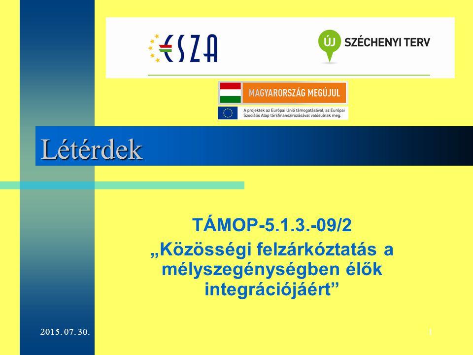"""2015. 07. 30.1 Létérdek TÁMOP-5.1.3.-09/2 """"Közösségi felzárkóztatás a mélyszegénységben élők integrációjáért"""""""