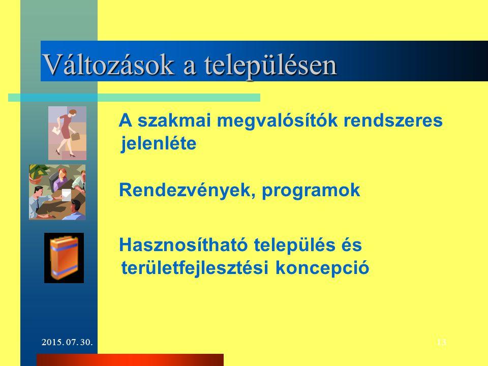 2015. 07. 30.13 Változások a településen A szakmai megvalósítók rendszeres jelenléte Rendezvények, programok Hasznosítható település és területfejlesz