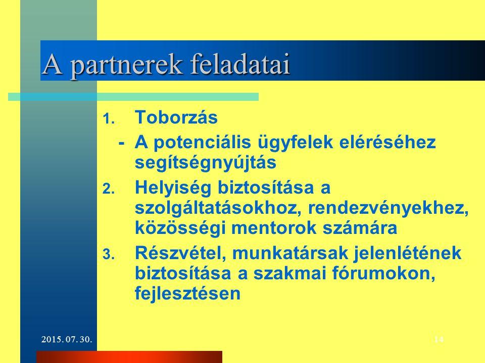 2015. 07. 30.14 A partnerek feladatai 1. Toborzás - A potenciális ügyfelek eléréséhez segítségnyújtás 2. Helyiség biztosítása a szolgáltatásokhoz, ren