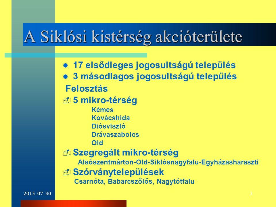 2015. 07. 30.3 A Siklósi kistérség akcióterülete 17 elsődleges jogosultságú település 3 másodlagos jogosultságú település Felosztás  5 mikro-térség K