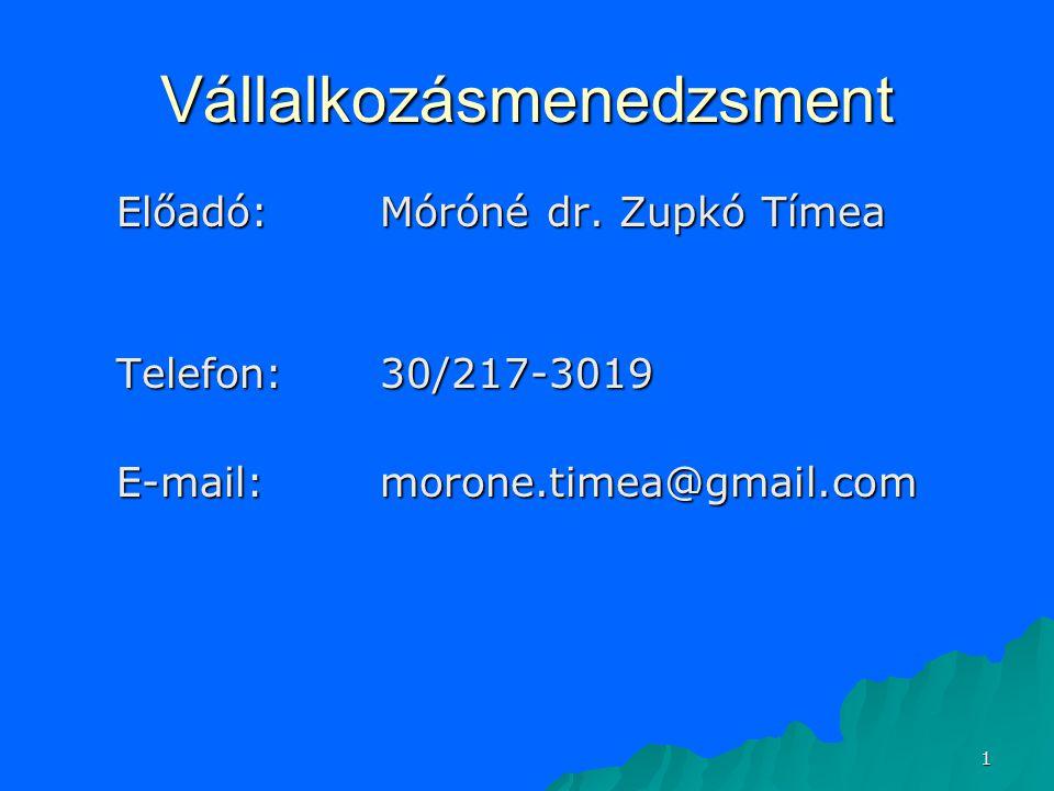 1 Vállalkozásmenedzsment Előadó:Móróné dr.