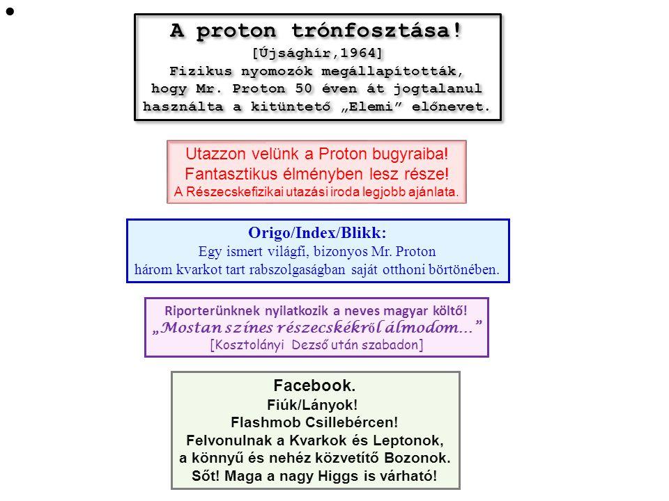A proton trónfosztása.[Újsághír,1964] Fizikus nyomozók megállapították, hogy Mr.