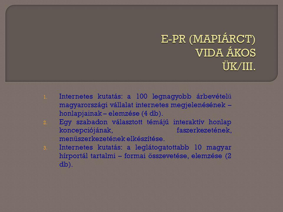 1. Internetes kutatás: a 100 legnagyobb árbevétel ű magyarországi vállalat internetes megjelenésének – honlapjainak – elemzése (4 db). 2. Egy szabadon