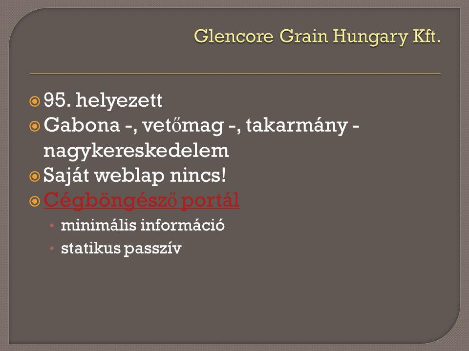  95.helyezett  Gabona -, vet ő mag -, takarmány - nagykereskedelem  Saját weblap nincs.