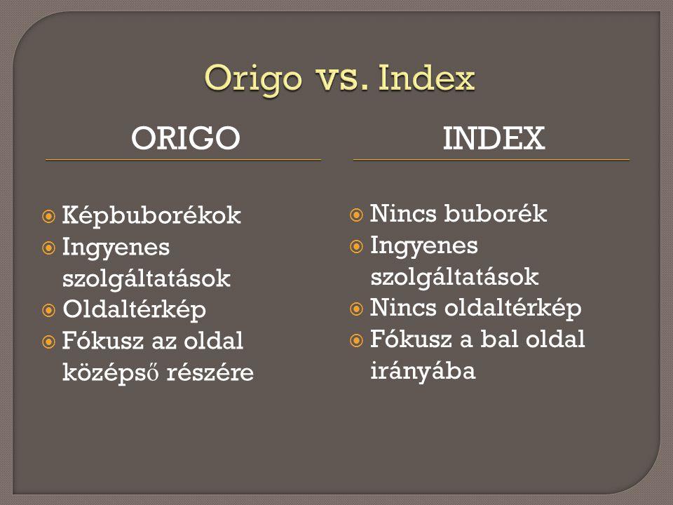 ORIGOINDEX  Képbuborékok  Ingyenes szolgáltatások  Oldaltérkép  Fókusz az oldal középs ő részére  Nincs buborék  Ingyenes szolgáltatások  Nincs oldaltérkép  Fókusz a bal oldal irányába