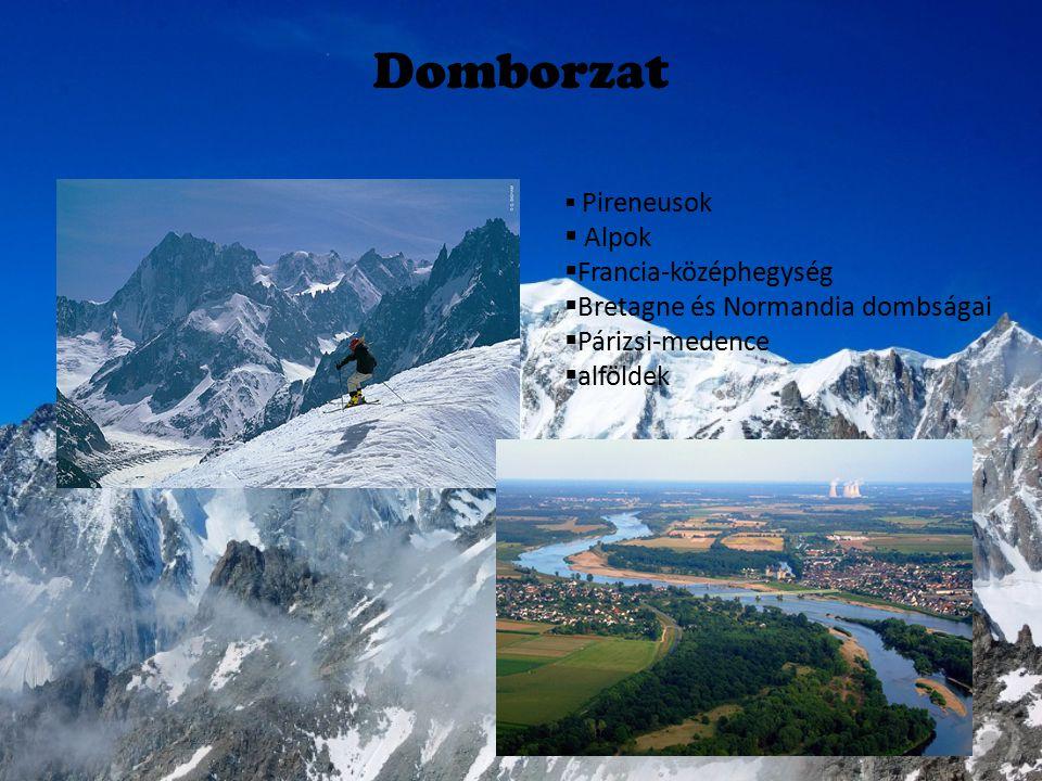 Domborzat  P Pireneusok  Alpok FFrancia-középhegység BBretagne és Normandia dombságai PPárizsi-medence aalföldek
