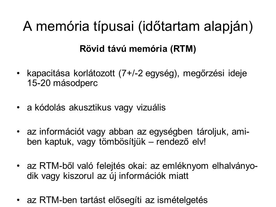 A memória típusai (időtartam alapján) Rövid távú memória (RTM) kapacitása korlátozott (7+/-2 egység), megőrzési ideje 15-20 másodperc a kódolás akuszt