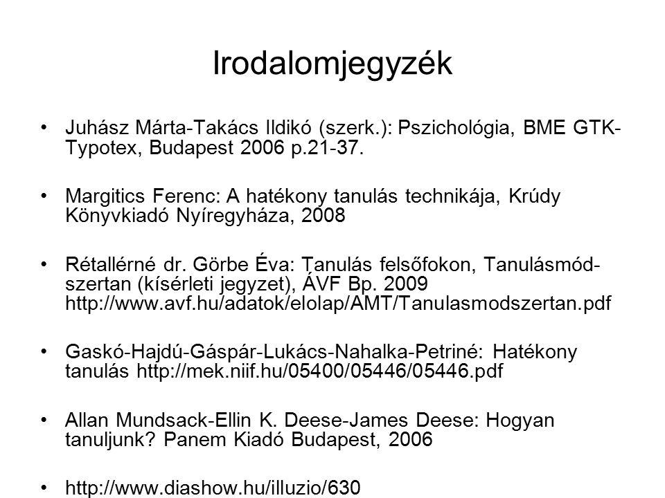 Irodalomjegyzék Juhász Márta-Takács Ildikó (szerk.): Pszichológia, BME GTK- Typotex, Budapest 2006 p.21-37. Margitics Ferenc: A hatékony tanulás techn