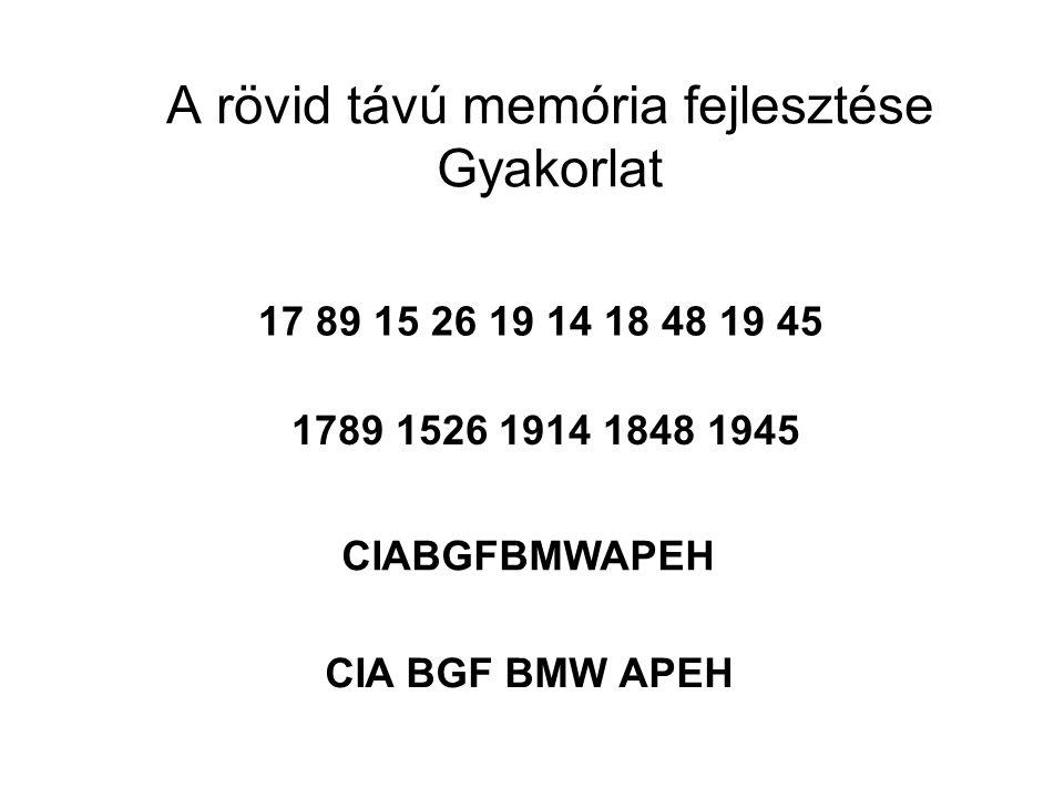 17 89 15 26 19 14 18 48 19 45 CIABGFBMWAPEH A rövid távú memória fejlesztése Gyakorlat