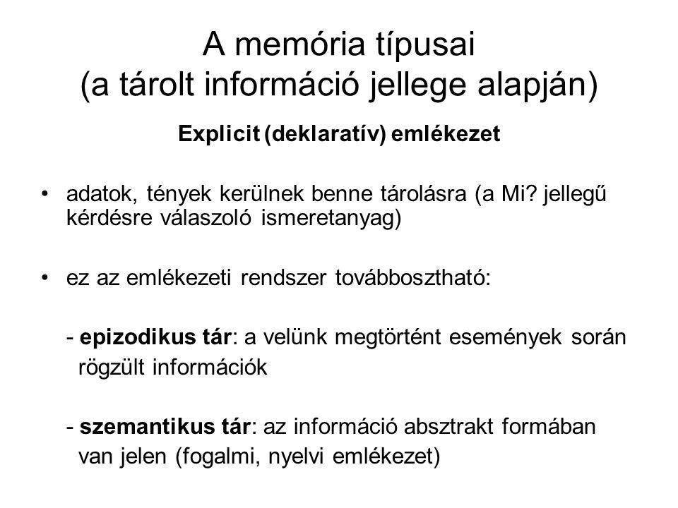 A memória típusai (a tárolt információ jellege alapján) Explicit (deklaratív) emlékezet adatok, tények kerülnek benne tárolásra (a Mi? jellegű kérdésr