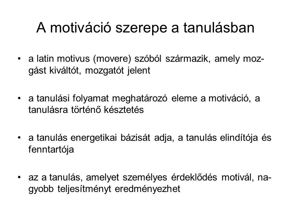 A motiváció szerepe a tanulásban a latin motivus (movere) szóból származik, amely moz- gást kiváltót, mozgatót jelent a tanulási folyamat meghatározó